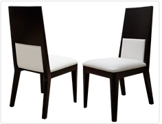 Pia-Wenge chair w/white leathe
