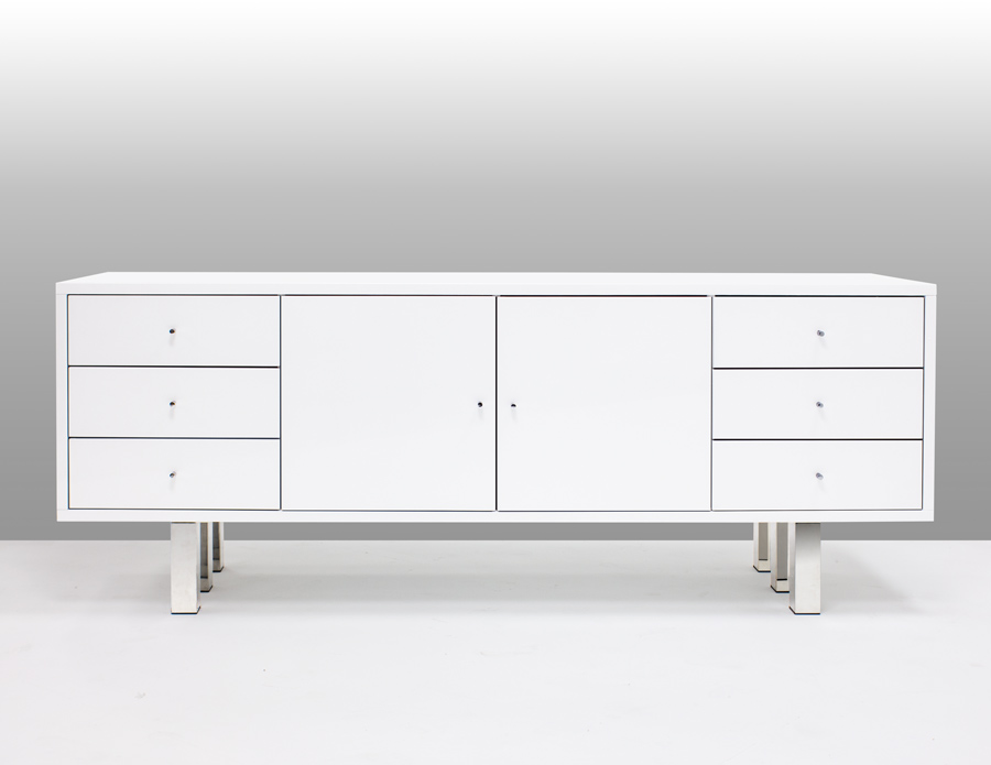 D313 Modern Dining Room Set In White Lacquer Finish: Roma White Lacquer Dining Table And Buffet