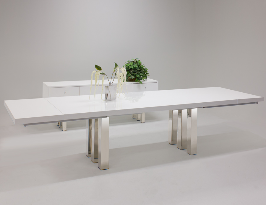 Roma white lacquer dining table and buffet for White lacquer dining table