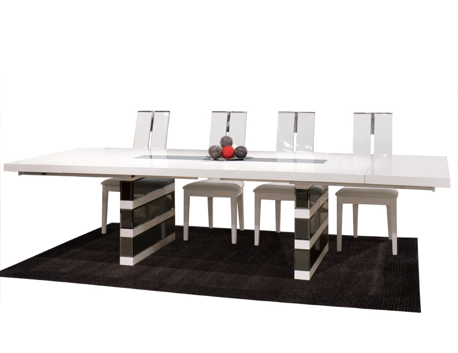 White lacquer mirrored dining table mera white lacquer mirrored dining table watchthetrailerfo