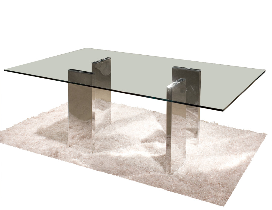 Rectangular Crackle Glass Dining Table