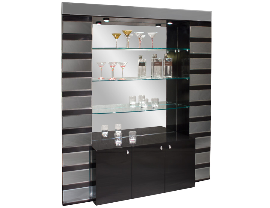 Mera black lacquer mirrored bar corner - Wall bar counter ...